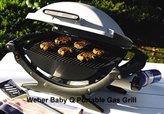 weber baby q grill open